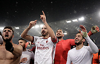 Football Soccer: Tim Cup semi-final second Leg, SS Lazio vs AC Milan, Stadio Olimpico, Rome, Italy, February 28, 2018.<br /> From left: Milan's Patrick Cutrone, captain Leonardo Bonucci, goalkeeper Gianluigi Donnarumma and Hakan Calhanoglu celebrate after winning the Tim Cup semi-final football match against SS Lazio at Rome's Olympic stadium, February 28, 2018.<br /> UPDATE IMAGES PRESS/Isabella Bonotto