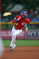 Buffalo Bisons outfielder Dalton Pompey (37) running the bases during a game against the Pawtucket Red Sox  on August 28, 2015 at Coca-Cola Field in Buffalo, New York.  Pawtucket defeated Buffalo 7-6.  (Mike Janes/Four Seam Images)