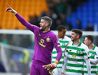 1st March 2020; McDairmid Park, Perth, Perth and Kinross, Scotland; Scottish Premiership Football, St Johnstone versus Celtic; Fraser Forster of Celtic shares a joke with Ryan Christie of Celtic after the match