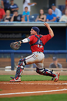 Fort Myers Miracle catcher Ben Rortvedt (15) fakes a throw down to second base during a Florida State League game against the Charlotte Stone Crabs on April 6, 2019 at Charlotte Sports Park in Port Charlotte, Florida.  Fort Myers defeated Charlotte 7-4.  (Mike Janes/Four Seam Images)