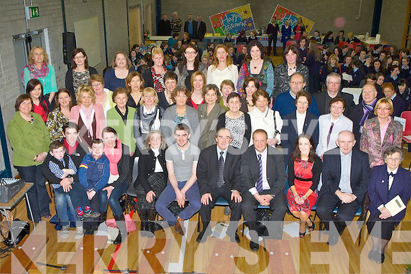 Seamus Falvey seated centre Principal of St Joseph's Presentation Convent Castleisland celebrated his retirement on his last day at school with his family and colleagues in the school hall on Wednesday....