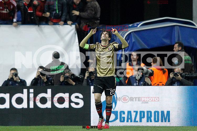 AC Milan's Kaka celebrates goal during Champions League 2013/2014 match.March 11,2014. (ALTERPHOTOS/Acero)