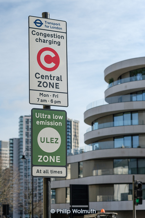 Sign marking the boundry of the London Congestion Charge Zone and the London Ultra Low Emission Zone