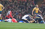 Jamie Roberts and Stirling Mortlock on the floor after colliding. Wales V Australia, Invesco Perpetual Series 2008. © Steve Pope Sportingwales The Manor Coldra Woods Newport South Wales NP18 1HQ 07798 830089 01633 410450 steve@sportingwales.com www.fotowales.com www.sportingwales.com