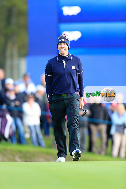 Hunter Mahan (USA) on 4th green during Saturday Morning's Fourball Matches between Europe's Lee Westwood and Jamie Donaldson and USA's Hunter Mahan and Jim Furyk of the Ryder Cup 2014 played on the PGA Centenary Course at the Gleneagles Hotel, Auchterarder, Scotland.: Picture Eoin Clarke, www.golffile.ie: 27th September 2014