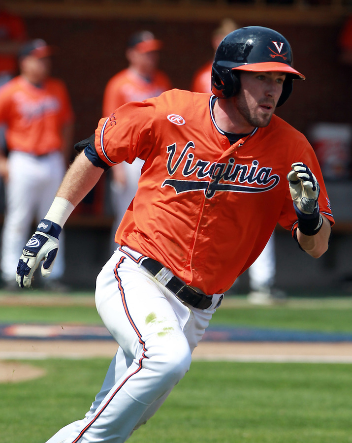 Virginia infielder Branden Cogswell (7) hits a double during the game against Clemson Sunday at Davenport Field in Charlottesville, VA. Photo/Daily Progress/Andrew Shurtleff
