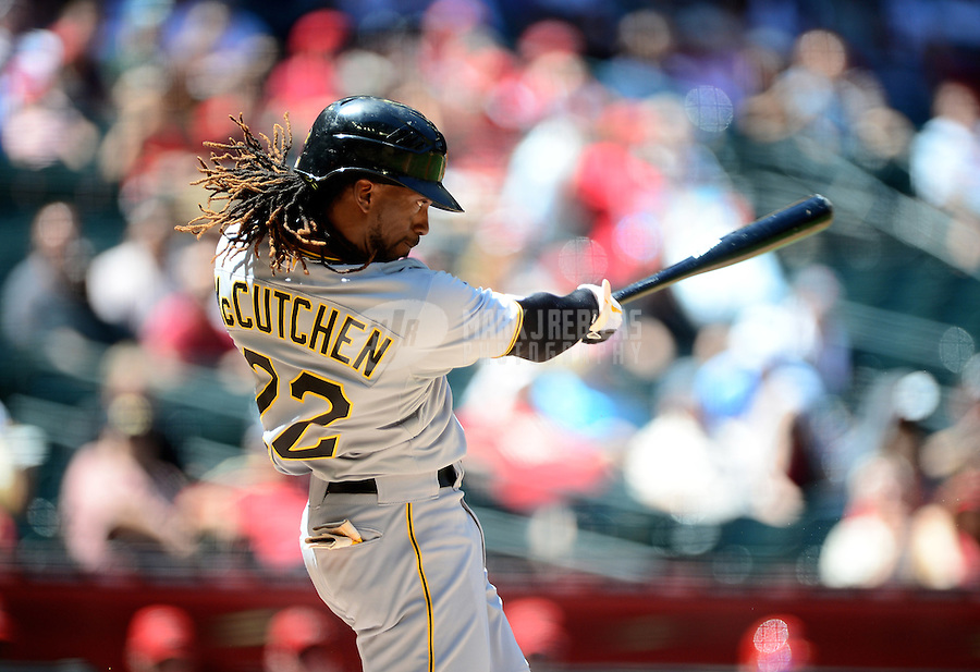 Apr. 18, 2012; Phoenix, AZ, USA; Pittsburgh Pirates outfielder Andrew McCutchen bats in the first inning against the Arizona Diamondbacks at Chase Field.  Mandatory Credit: Mark J. Rebilas-