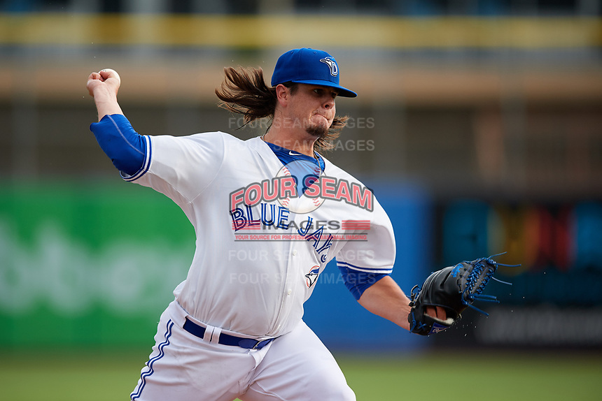 Dunedin Blue Jays starting pitcher Maverik Buffo (45) delivers a pitch during a game against the Lakeland Flying Tigers on July 31, 2018 at Dunedin Stadium in Dunedin, Florida.  Dunedin defeated Lakeland 8-0.  (Mike Janes/Four Seam Images)
