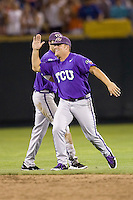 TCU wins 7898.jpg against Florida State at the College World Series on June 23rd, 2010 at Rosenblatt Stadium in Omaha, Nebraska.  (Photo by Andrew Woolley / Four Seam Images)