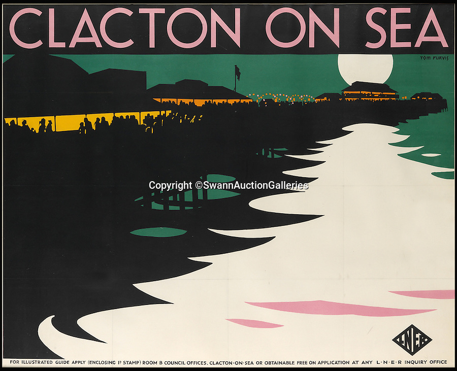 BNPS.co.uk (01202 558833)<br /> Pic: SwannAuctionGalleries/BNPS<br /> <br /> What could be more romantic - Clacton on Sea by moonlight...<br /> <br /> Travel posters opening a window into British seaside holidays of the past have emerged at auction. <br /> <br /> The selection of images, which were displayed at railway stations in the early 20th century, are among 200 being sold in the USA next month and expected to fetch hundreds of thousands of pounds. <br /> <br /> They feature paintings from prominent artists of the time and show a sharp contrast to the styles of today. <br /> <br /> The posters are being auctioned by Swann Galleries in New York on October 27.