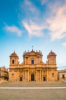 St Nicholas Cathedral (Noto Cathedral, Cattedrale di Noto) in Noto at sunrise, Sicily, Italy, Europe. This is a photo of St Nicholas Cathedral (Noto Cathedral, Cattedrale di Noto) in Noto at sunrise, Sicily, Italy, Europe.
