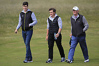 Gary Hurley (IRL) and Paul Dunne (IRL) with Tony Goode (Ireland team Captain) on the 3rd fairway during Round 3 of the East of Ireland Amateur Open Championship at Co. Louth Golf Club in Baltray on Sunday 4th June 2017.<br /> Photo: Golffile / Thos Caffrey.<br /> <br /> All photo usage must carry mandatory copyright credit     (&copy; Golffile | Thos Caffrey)