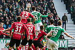 13.04.2019, Weserstadion, Bremen, GER, 1.FBL, Werder Bremen vs SC Freiburg<br /> <br /> DFL REGULATIONS PROHIBIT ANY USE OF PHOTOGRAPHS AS IMAGE SEQUENCES AND/OR QUASI-VIDEO.<br /> <br /> im Bild / picture shows<br /> Tor 2:0, Theodor Gebre Selassie (Werder Bremen #23) köpft ein zum 2:0, <br /> <br /> Foto © nordphoto / Ewert