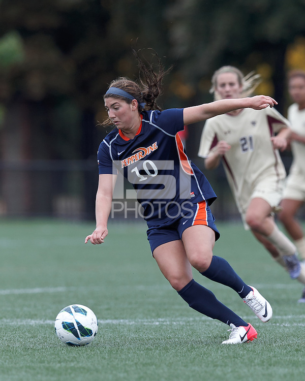 Pepperdine University forward Anisa Guajardo (10) dribbles. Pepperdine University defeated Boston College,1-0, at Soldiers Field Soccer Stadium, on September 29, 2012.