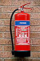 Fire extinguisher containing 9kg powder. This is used for all fires except metal fires and gaseous fires having an explosion risk...© SHOUT. THIS PICTURE MUST ONLY BE USED TO ILLUSTRATE THE EMERGENCY SERVICES IN A POSITIVE MANNER. CONTACT JOHN CALLAN. Exact date unknown.john@shoutpictures.com.www.shoutpictures.com.