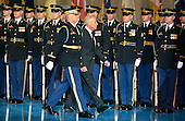 Outgoing United States Secretary of Defense Chuck Hagel is escorted for an honor guard review during an Armed Forces Farewell Tribute, January 28, 2015 at Joint Base Myer-Henderson Hall, Virginia. Deputy Secretary Ashton Carter, who has served under Leon Panetta and Hagel is expected to be easily approved by the Senate to succeed Hagel.                                 <br /> Credit: Mike Theiler / Pool via CNP