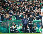 29.04.18 Celtic v Rangers: Graeme Murty looks shellshocked as Celtic fans do the huddle behind him
