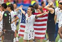 LYON,  - JULY 7: Kelley O'Hara #5 celebrates during a game between Netherlands and USWNT at Stade de Lyon on July 7, 2019 in Lyon, France.