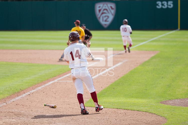 STANFORD, CA - April 24, 2016:  Stanford hosts Arizona State at Klein Field at Sunken Diamond. Arizona State won 8-7 in 10 innings.