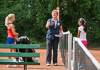 August 4, 2014, Netherlands, Dordrecht, TC Dash 35, Tennis, National Junior Championships, NJK,  Kiki Rijk (L) the Umpire tossing and Samito Mallo<br /> Photo: Tennisimages/Henk Koster