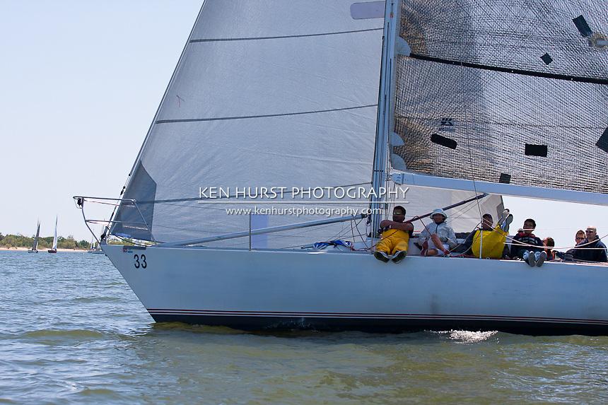 Godspeed, a Beneteau 39 IOR 1 ton, racing at Texoma Sailing Club Lakefest Regatta 2011, 25th annual charity regatta at Lake Texoma, Denison, Texas.