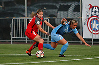 Piscataway, NJ - Saturday June 3, 2017: Mallory Weber, Madison Tiernan during a regular season National Women's Soccer League (NWSL) match between Sky Blue FC and the Portland Thorns at Yurcak Field.  Portland defeated Sky Blue, 2-0.