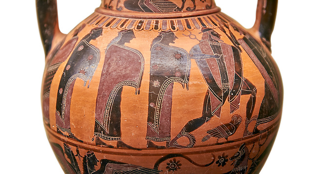 560-550 B.C Etruscan attica style amfora painted in the style of Lydos, inv 70995,   National Archaeological Museum Florence, Italy , white background