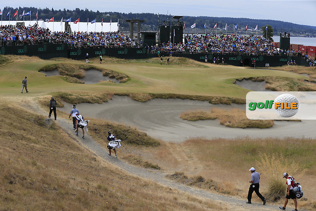 Angel Cabrera (ARG), Phil MICKELSON (USA) and Bubba Watson (USA) on the 17th hole during Thursday's Round 1 of the 2015 U.S. Open 115th National Championship held at Chambers Bay, Seattle, Washington, USA. 6/18/2015.<br /> Picture: Golffile | Eoin Clarke<br /> <br /> <br /> <br /> <br /> All photo usage must carry mandatory copyright credit (&copy; Golffile | Eoin Clarke)