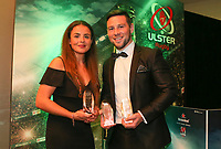 Thursday 10th May 2018 | Ulster Rugby Awards 2018<br /> <br /> The Deloitte Women&rsquo;s Player of the Year to Larissa Muldoon and the the Bank of Ireland Ulster Player of the Year Award winner John Cooney, during the 2018 Heineken Ulster Rugby Awards at La Mom Hotel, Belfast. Photo by John Dickson / DICKSONDIGITAL