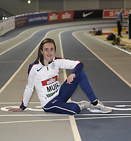 14th February 2020; Glasgow, Scotland;  Laura Muir GBR, at a pre-event photocall. Laura Muir GBR 1000m WR attempt  Five-time European champion and double world indoor medallist  Muir finished 5th at last years World Championships in 3:55.76, her second quickest time ever