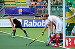 The Hague, Netherlands, June 08: Phil Burrows #18 of New Zealand prepares for a penalty corner during the field hockey group match (Men - Group B) between the Black Sticks of New Zealand and Germany on June 8, 2014 during the World Cup 2014 at Kyocera Stadium in The Hague, Netherlands.  Final score 3-5 (1-3) (Photo by Dirk Markgraf / www.265-images.com) *** Local caption ***