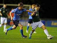 27th October 2014; SSE Airtricity League Promotion Playoff, Leg 1, UCD v Galway FC, UCD Bowl, Belfield, Dublin. <br /> Colm Horgan, Galway FC with Timmy Molloy of UCD<br /> Picture credit: Tommy Grealy/actionshots.ie.