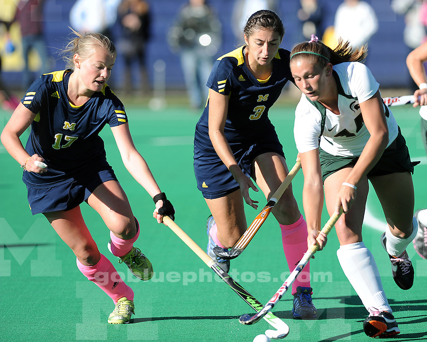 The University of Michigan field hockey team beat Michigan State University, 3-2 (in overtime), at Ocker Field in Ann Arbor, Mich., on October 12, 2012.