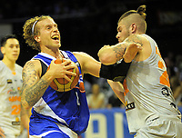 Joshua Duinker is fouled during the national basketball league match between Wellington Saints and Taylor Hawks at TSB Bank Arena in Wellington, New Zealand on Friday, 17 March 2017. Photo: Dave Lintott / lintottphoto.co.nz