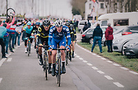 a familiar sight at the front of the peloton: Tim DECLERCQ (BEL/Deceuninck-Quick Step) leading the way<br /> <br /> 74th Omloop Het Nieuwsblad 2019 <br /> Gent to Ninove (BEL): 200km<br /> <br /> ©kramon