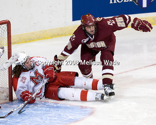 Ryan Jones (Miami - 26), Nick Petrecki (BC - 26) - The Boston College Eagles defeated the Miami University RedHawks 4-3 in overtime on Sunday, March 30, 2008 in the NCAA Northeast Regional Final at the DCU Center in Worcester, Massachusetts.
