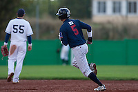 10 october 2009: Kenji Hagiwara runs the bases as he hits a home run during game 3 of the 2009 French Elite Finals won 4-2 by Savigny over Rouen, at Stade Jean Moulin stadium in Savigny sur Orge, near Paris, France.