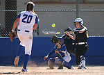 Western Nevada&rsquo;s Dakota Robinson hits against College of Southern Nevada&rsquo;s Jaycie Lebaron at Edmonds Sports Complex in Carson City, Nev., on Friday, April 1, 2016. <br />Photo by Cathleen Allison/Nevada Photo Source