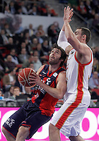 Caja Laboral Baskonia's Fernando San Emeterio (l) and CAI Zaragoza's Pablo Aguilar during Spanish Basketball King's Cup match.February 07,2013. (ALTERPHOTOS/Acero)