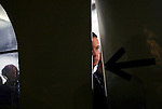 A member of the Secret Service cheeks out the outdoors from the tent where Republican Presidential candidate Mitt Romney (R-MA) speaks in a tent near the Montgomery Inn Restaurant at The Boathouse in Cincinnati, Ohio on Saturday, March 03, 2012. (Photo by Yana Paskova for The New York Times)<br /> <br /> Assignment ID: 30122138A