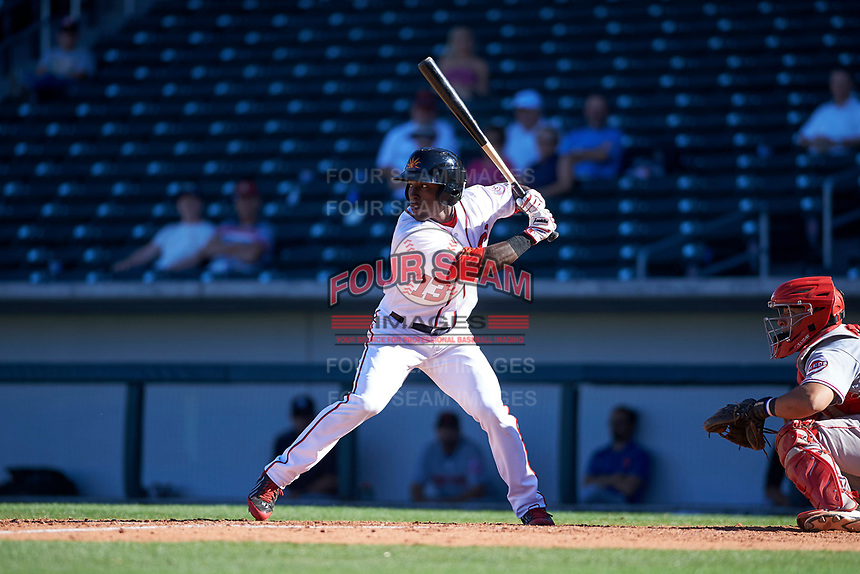 Mesa Solar Sox right fielder Daniel Johnson (13), of the Washington Nationals organization, at bat in front of catcher Chad Tromp (55) during an Arizona Fall League game against the Scottsdale Scorpions on October 24, 2017 at Sloan Park in Mesa, Arizona. The Scorpions defeated the Solar Sox 3-1. (Zachary Lucy/Four Seam Images)