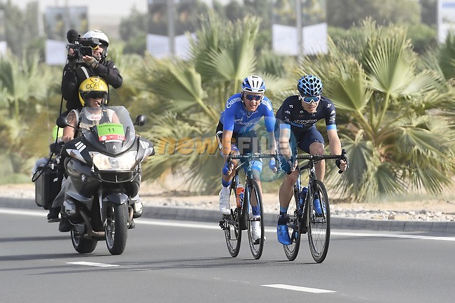 The breakaway Charles Planet (FRA) of Team Novo and Stepan Kuriyanov (RUS) of Gazpom-Rusvelo in action during Stage 2 of the 2019 UAE Tour, running 184km form Yas Island Yas Mall to Abu Dhabi Breakwater Big Flag, Abu Dhabi, United Arab Emirates. 25th February 2019.<br /> Picture: LaPresse/Fabio Ferrari | Cyclefile<br /> <br /> <br /> All photos usage must carry mandatory copyright credit (© Cyclefile | LaPresse/Fabio Ferrari)