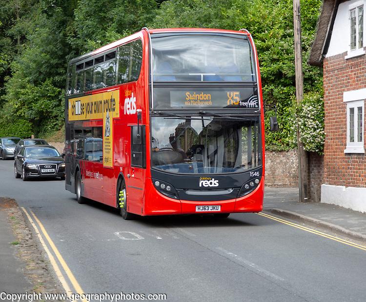 Salisbury Reds double decker bus on route to Swindon, Pewsey, Wiltshire, England, UK