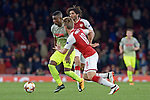 14.09.2017, Emirates Stadium, London, GER, Europa League, Arsenal London vs 1. FC Koeln, im Bild<br /> <br /> von links: John Cordoba ( Koeln #15 ), Nacho Monreal ( Arsenal #18 )<br /> <br /> <br /> Foto &copy; nordphoto / Treese