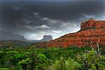Sedona Rain Storms over a green valley.