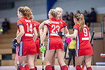 Mannheim, Germany, December 01: During the Bundesliga indoor women hockey match between Mannheimer HC and Nuernberger HTC on December 1, 2019 at Irma-Roechling-Halle in Mannheim, Germany. Final score 7-1. (Copyright Dirk Markgraf / 265-images.com) *** Leah Loersch #14 of Mannheimer HC, Jule Kosswig #23 of Mannheimer HC, Verena Neumann #19 of Mannheimer HC, Clara Badia Bogner #9 of Mannheimer HC