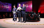 "October 12, 2017, Tokyo, Japan - Italian sports car maker Ferrari Far and Middle East CEO Dieter Knechtel (C) Ferrari Japan managing director Reno de Paoli (R) and a sumo referee dislpay ""LaFerrari Aperta"" to celebrate Ferrari's 70th anniversary event at Tokyo's Kokugikan sumo gymnasium on Thursday, Octoebr 12, 2017. Ferrari also displayed 40 sports cars outside of the Kokugikan.   (Photo by Yoshio Tsunoda/AFLO) LWX -ytd"