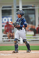 GCL Rays catcher Alexander Alvarez (8) during the second game of a doubleheader against the GCL Red Sox on August 9, 2016 at JetBlue Park in Fort Myers, Florida.  GCL Rays defeated GCL Red Sox 9-1.  (Mike Janes/Four Seam Images)