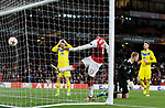 Arsenal's Danny Welbeck smashes the ball after Bate Borisov's Denis Polakov's (left) own goal during the Europa League Group H match at The Emirates Stadium, London. Picture date: December 7th 2017. Picture credit should read: David Klein/Sportimage