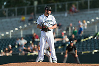 Peoria Javelinas relief pitcher Jon Olczak (29), of the Milwaukee Brewers organization, gets ready to deliver a pitch during the Arizona Fall League Championship Game against the Salt River Rafters at Scottsdale Stadium on November 17, 2018 in Scottsdale, Arizona. Peoria defeated Salt River 3-2 in 10 innings. (Zachary Lucy/Four Seam Images)